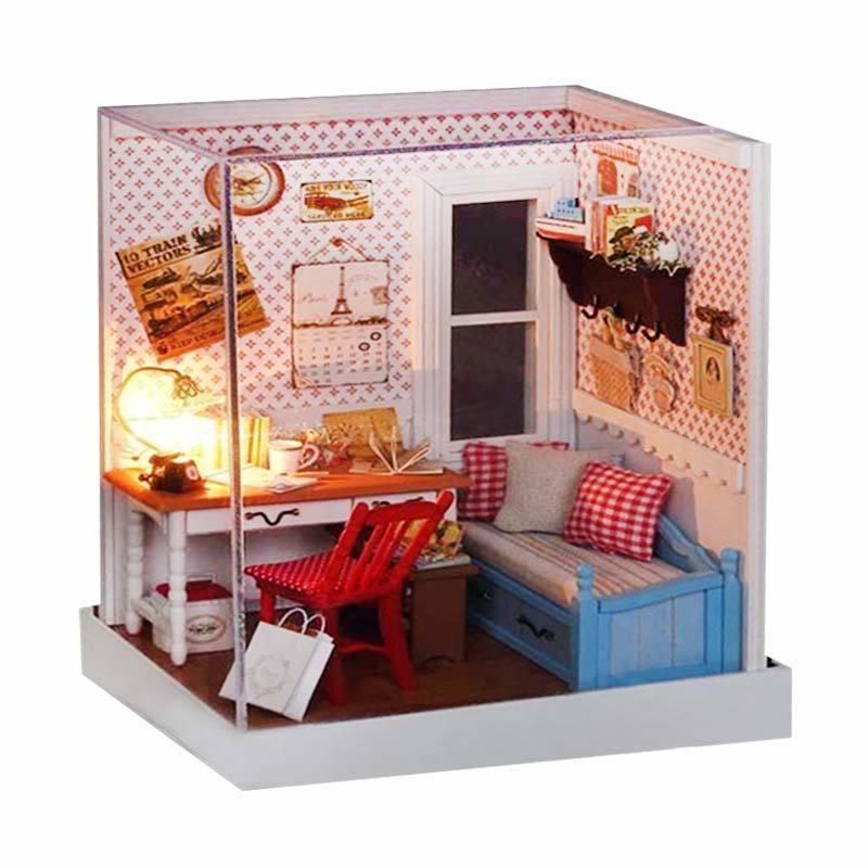 A1Toys DIY Miniature House Vintage Ruang Kerja Plus Lampu LED WM