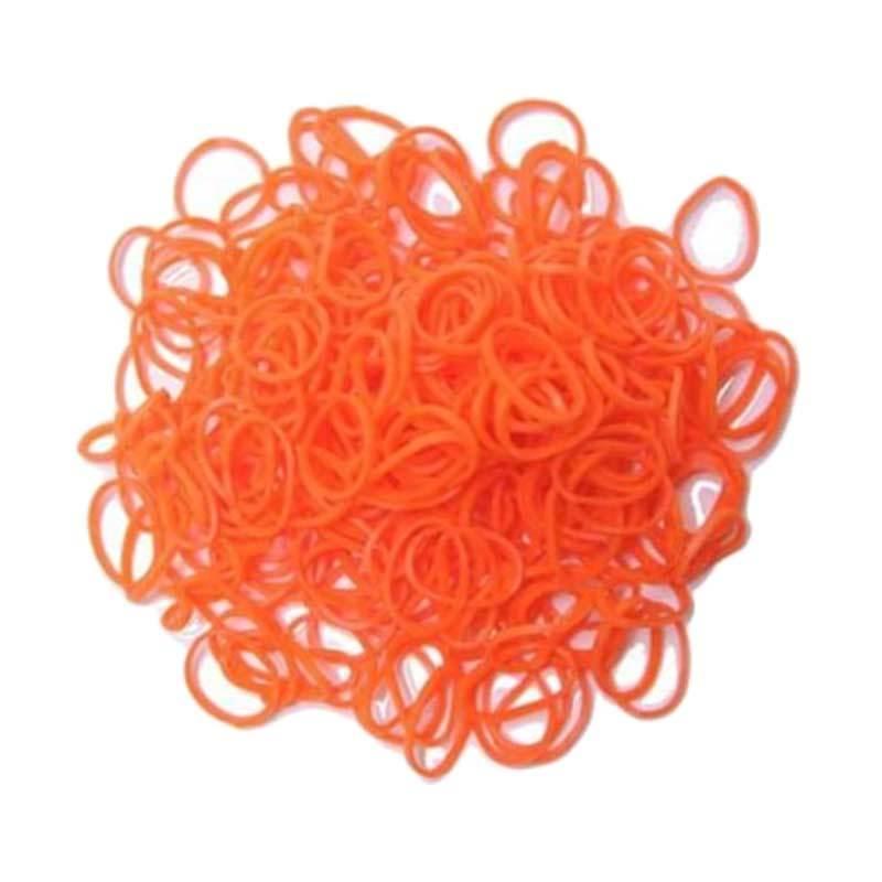 Karet Rambut Korea Isi 300Pcs Bands Orange Karet Gelang Aksesoris