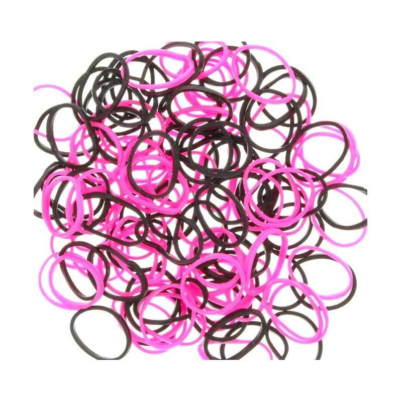 Karet Rambut Korea Isi 300Pcs Pink Hitam Karet Gelang Aksesoris