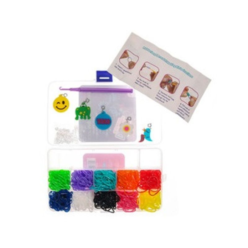 LOOM BANDS Rainbow Loom Starter Kit M 11 Sekat 10 Warna Karet Rainbow