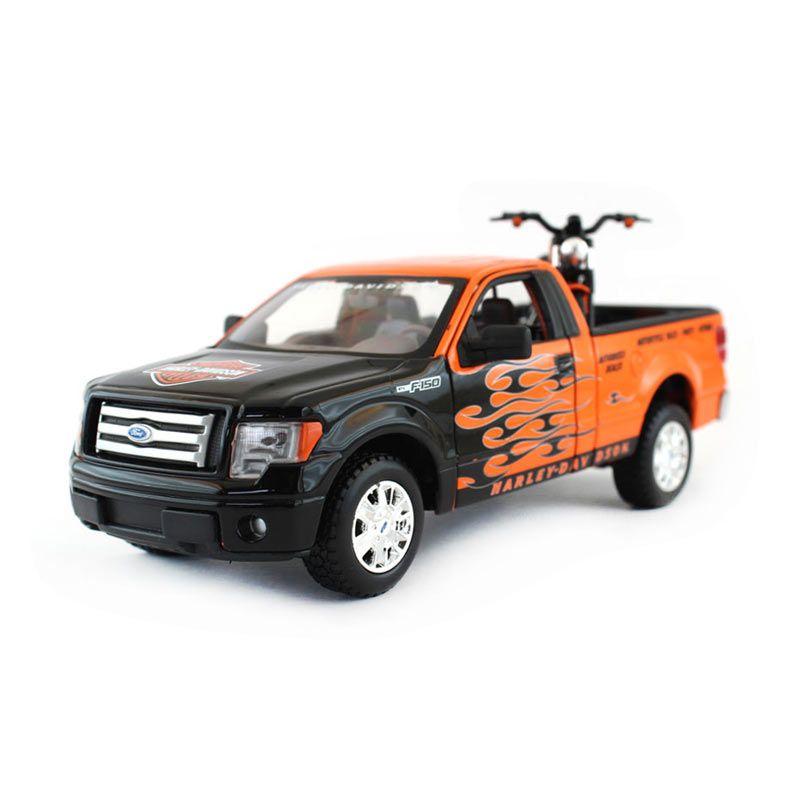 Maisto Harley Davidson Mobil dan Motor Orange Diecast Set