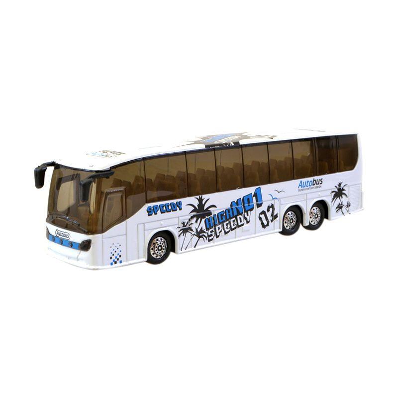 Speedy Coach Bus 18 cm Putih Miniatur Diecast Bus
