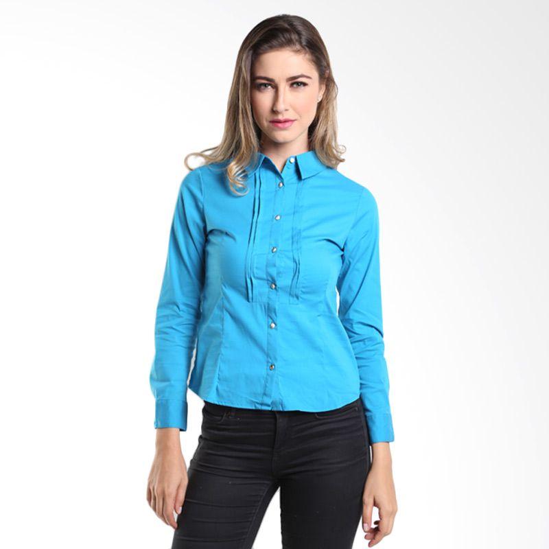 Accent Adriana Pintuck Stretch Blouse AR14110102 Acid Blue Atasan Wanita