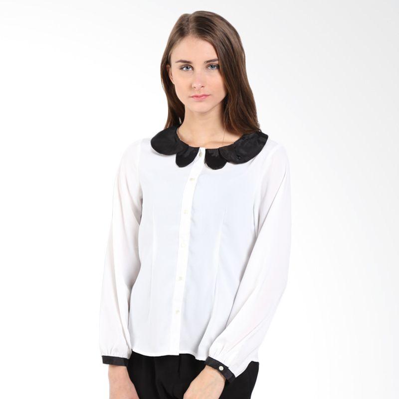 Accent Audrey Combo Collar LS Blouse AR14100150 Off White Atasan Wanita