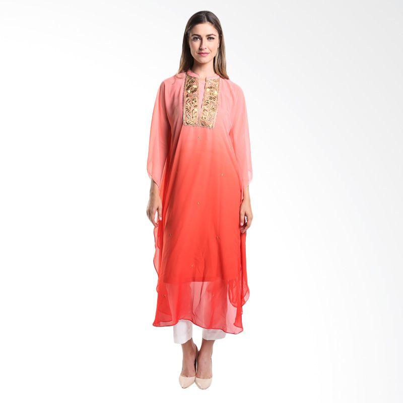 Accent Festive Aiza Chiffon Ombre AR15079405 Orange Kaftan Dress Muslim
