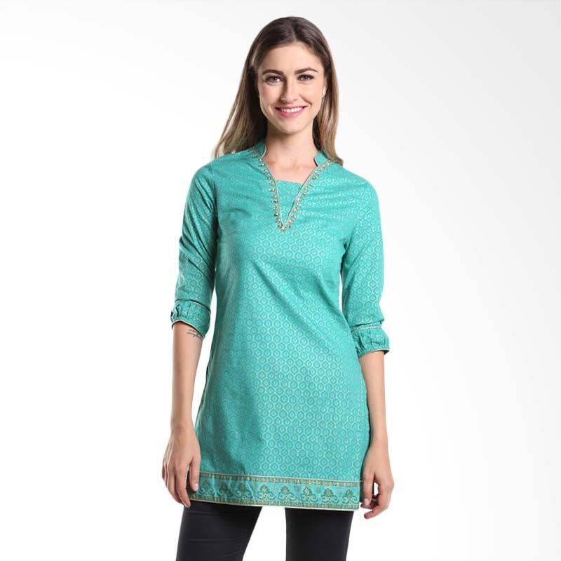 Accent Festive Almasa Printed Tunic AR15079102 Green Atasan Wanita