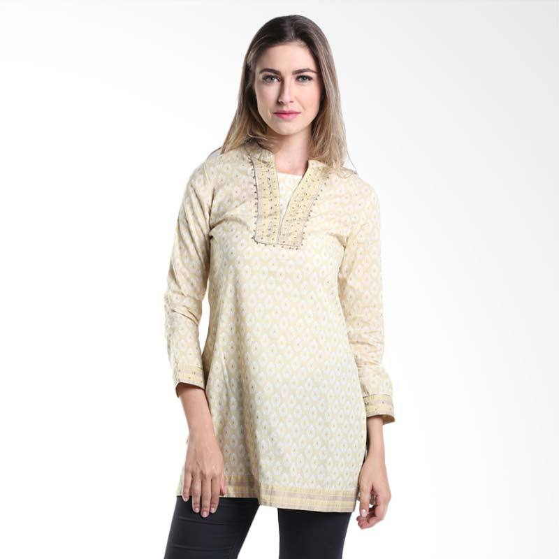 Accent Festive Eesha Printed Tunic AR15079104 Cream Gold Atasan Wanita