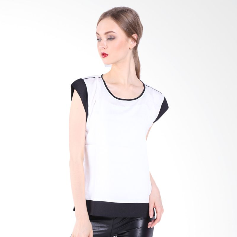 Accent Raina Combo Boxy Blouse AR15040121 Off White Atasan Wanita