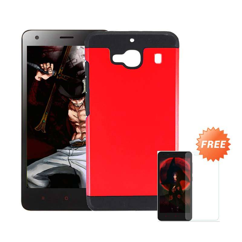 Accessories Hp Slim Armor Red Casing for Xiaomi Redmi 2 Prime + Tempered Glass Screen Protector