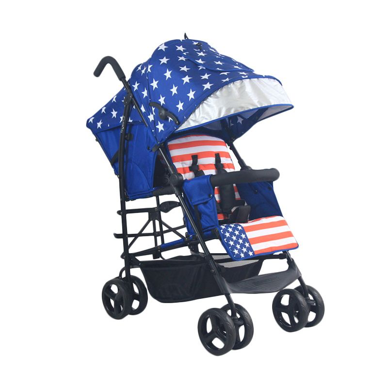 Tinyworld Double Tandem Twin Stroller TWDUO-L Blue Kereta Dorong Bayi
