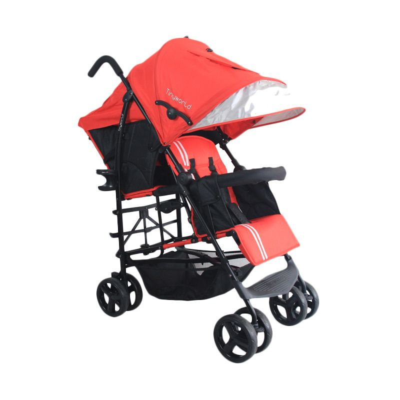Tinyworld Double Tandem Twin Stroller TWDUO-R Red Kereta Dorong Bayi