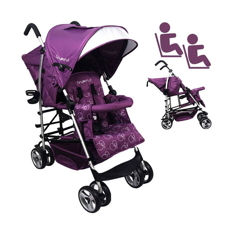 Tinyworld Double Umbrella Purple Kereta Dorong Bayi Tandem Stroller