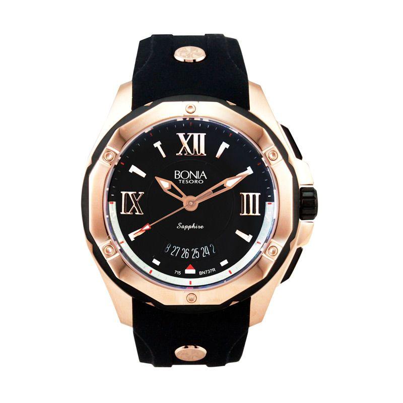Bonia B737-1533R Black Rose Gold Jam Tangan Pria