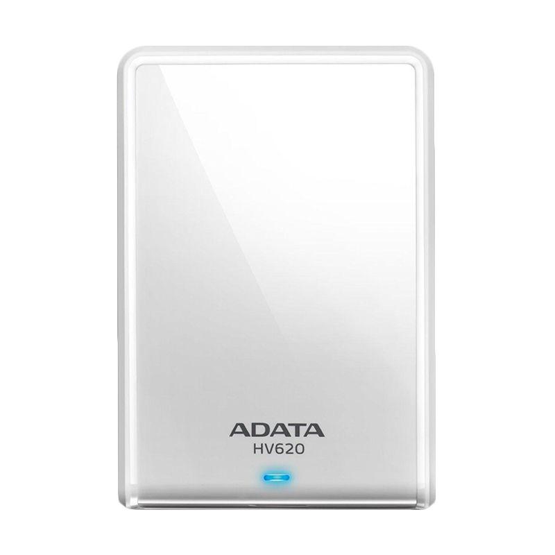 ADATA HV620 Slim Design White Hard Disk Eksternal [2 TB] + Pouch + Lanyard