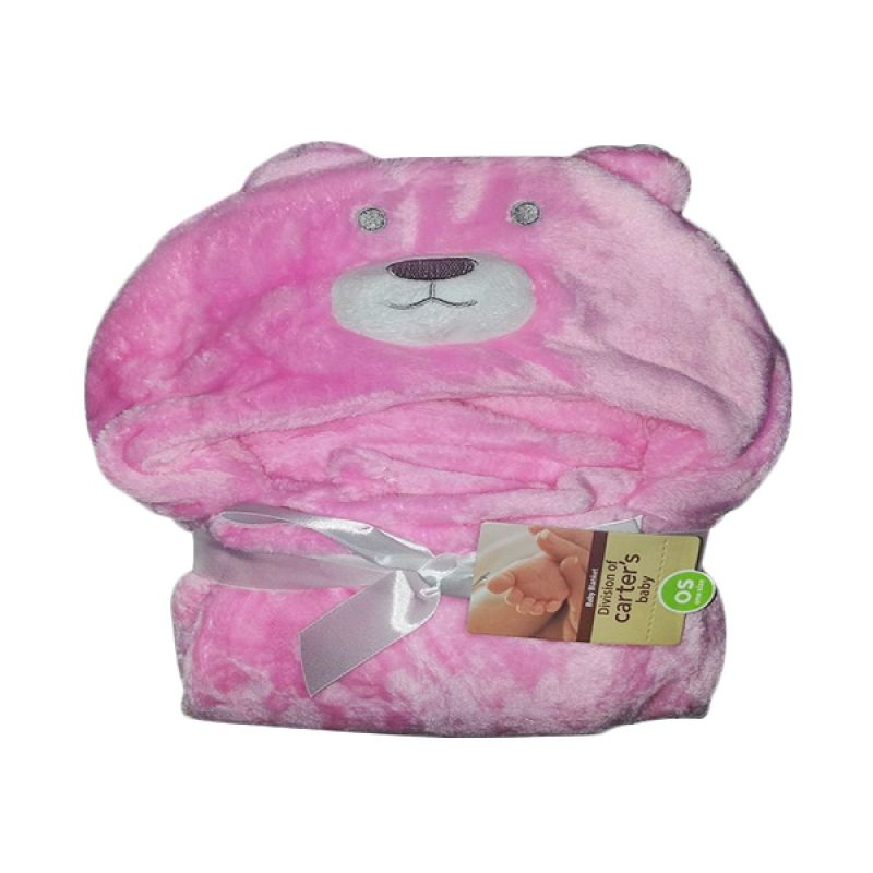 Carter's Fluffy Coral Fleece Bear Pink Blanket