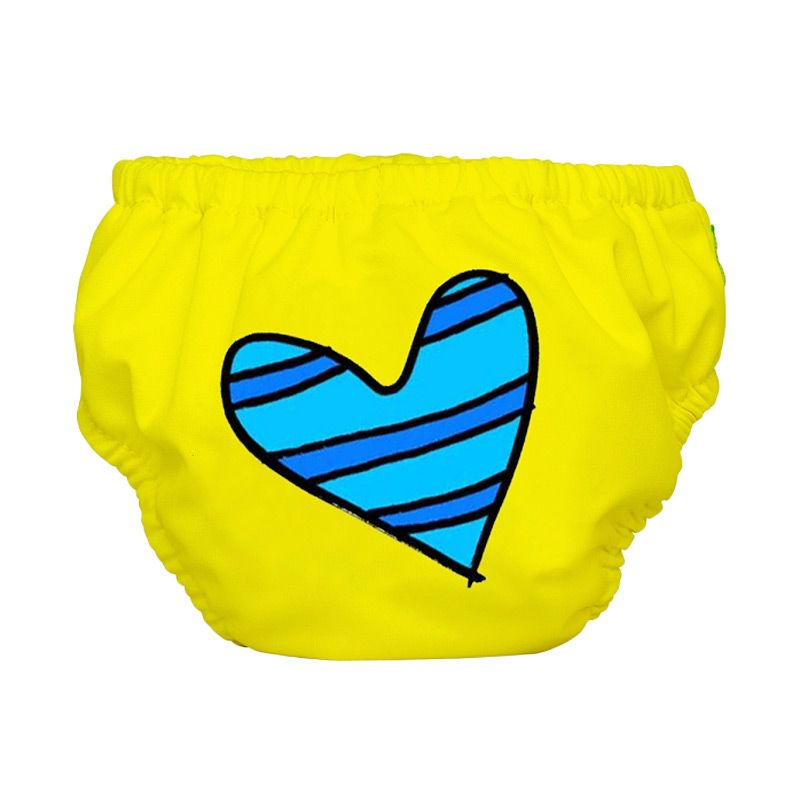 Charlie Banana Swim Diaper + Training Pants Blue Petit Coeur on Yellow