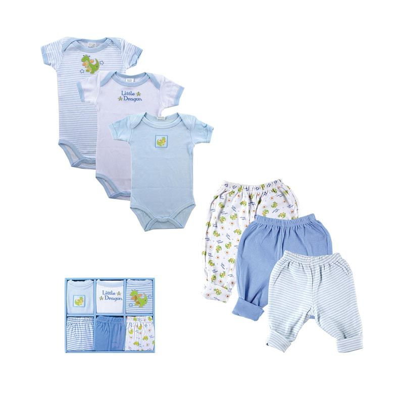 Luvable Friends Grow with Me Baby Clothing Boy Baby Gift Set [6 Pcs]