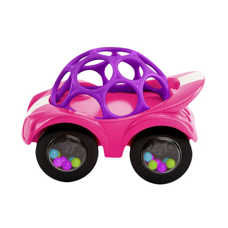 Oball Pink Rattles and Roll Cars Pink Mainan Bayi