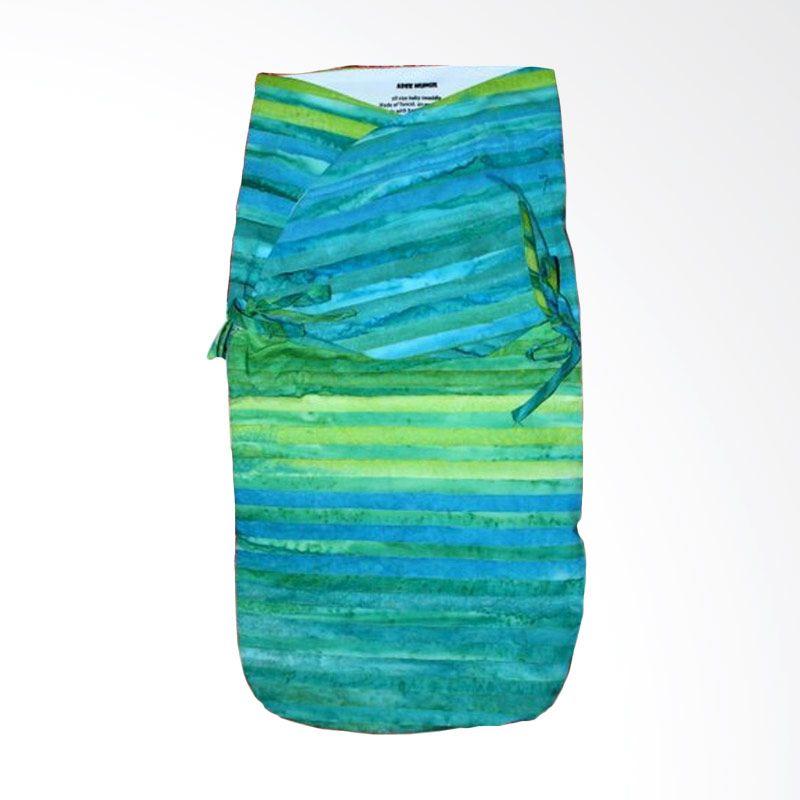 Petit Tigris Egret Tali Batik Half Inch Stripe Green Hijau Biru Bedong Bayi