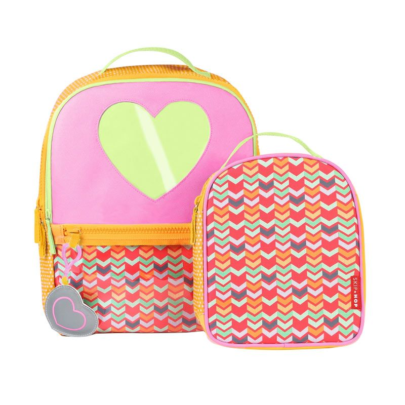 SkipHop Forget Me Not Backpack Set Hearts Orange Tas Sekolah