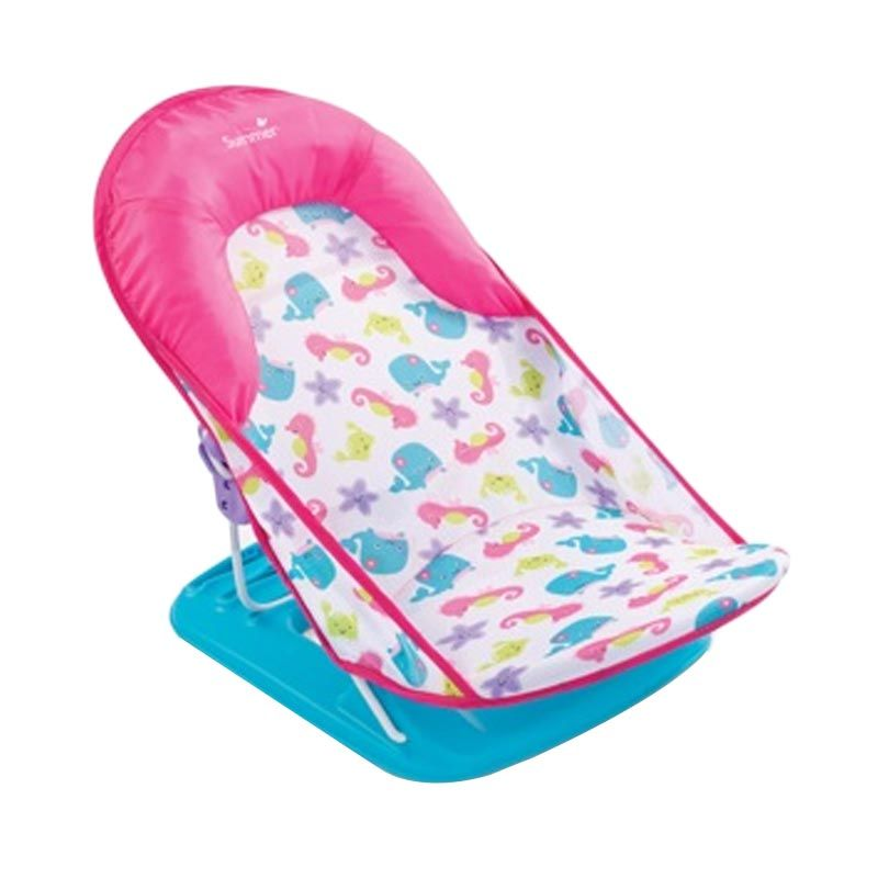 Summer's Infant Deluxe Pink 3 Positions Fish And Flowers Pink Tempat Mandi Bayi