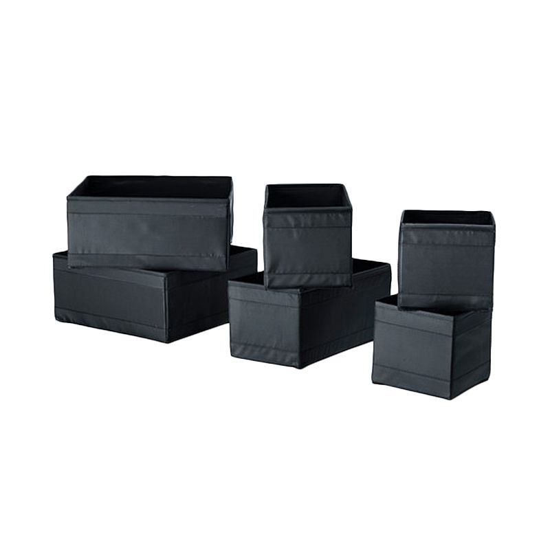 Ikea Skubb Hitam Kotak Organizer [Isi 6 Pcs]