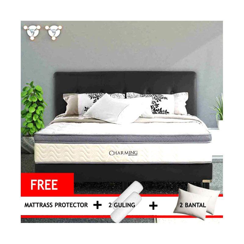 Simmons Charming Plushtop Spring Bed Set + Mattrass Protector + Guling + Bantal