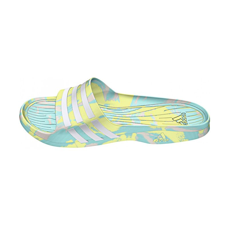 adidas Women Duramo Sleek Marbled Sky Blue Yellow Sandal (B23250)