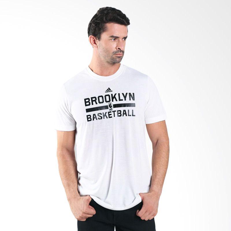 adidas NBA Brooklyn Nets Winter Hoops Game Putih Kaos Basket Pria (AA7935)