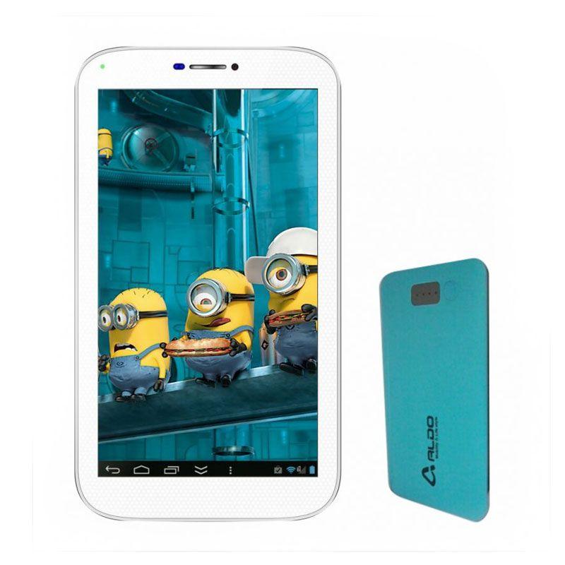 Aldo T33 Putih Tablet + Power Bank Biru