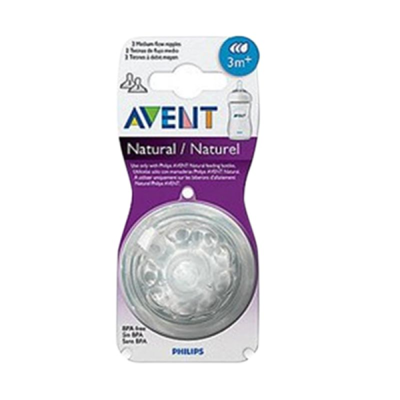 Avent Nipple Silicone Teats Natural Fast Flow Putih Dot Bayi