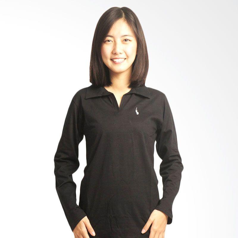 Adore Lengan Panjang Hitam Polo Shirt Wanita