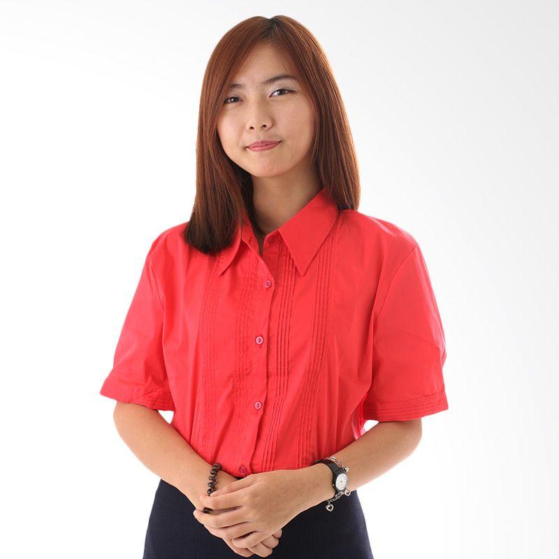 Adore SSL Lengan Pendek Merah Kemeja Atasan Wanita