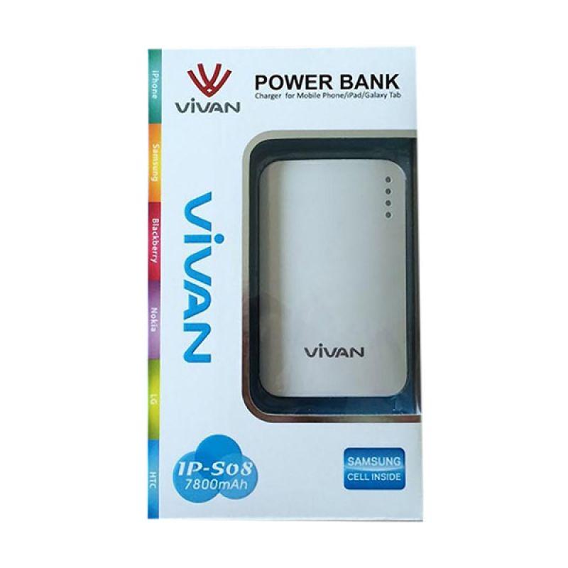 Vivan Original IPS08 White Powerbank [7800 mAh / Garansi Resmi 12 Bulan]