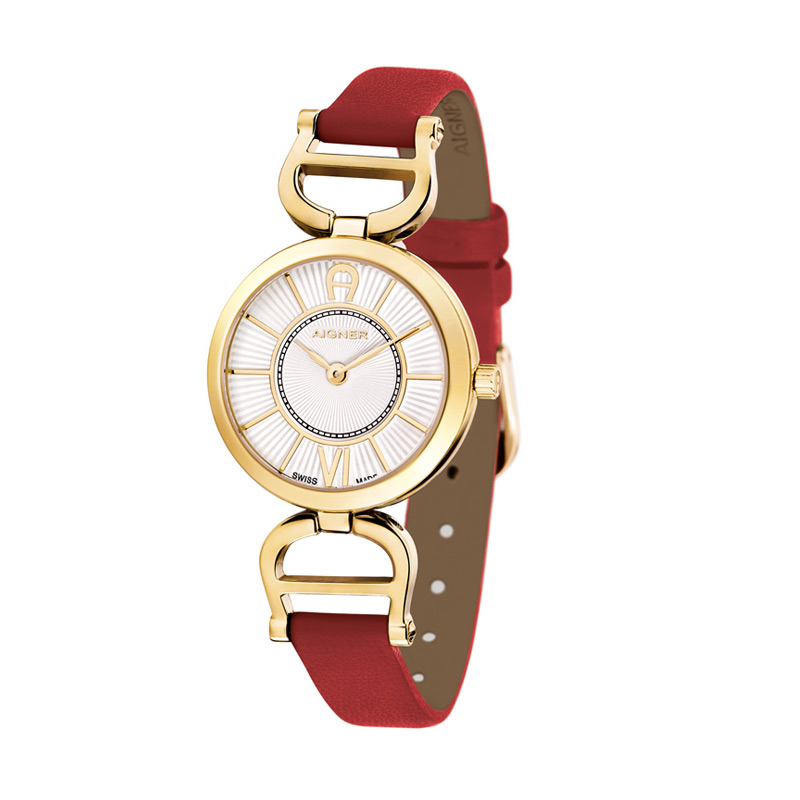 Aigner A24205A Red Leather Women Watches Jam Tangan Wanita