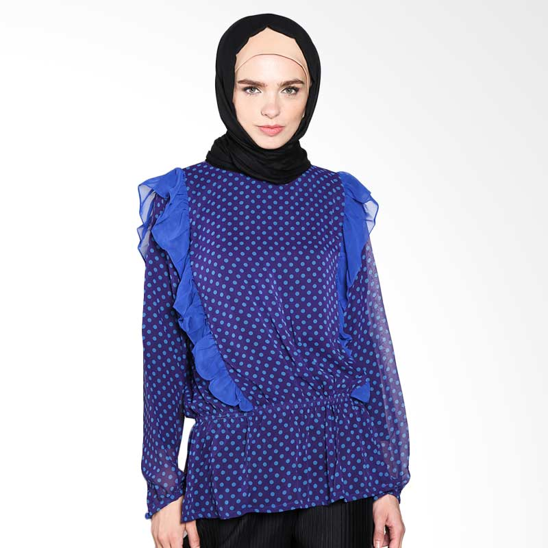 Aira Muslim Butik Chamelia  Blouse AB.T-011 Atasan Muslim - Electric Blue