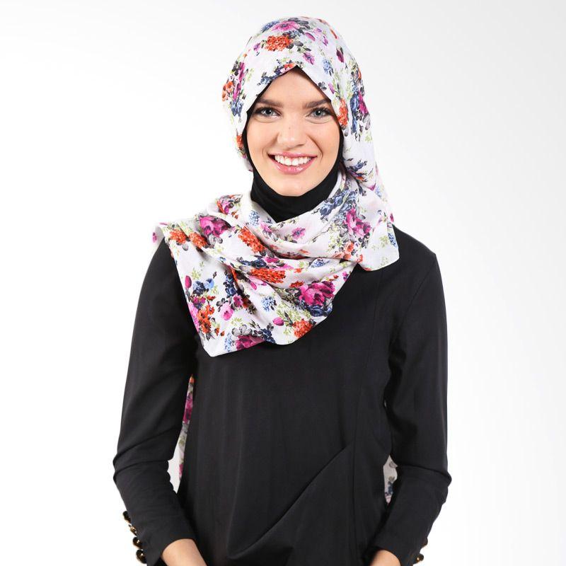 Aira Muslim Butik Dirty AB.P-016 Cream Purple Pashmina