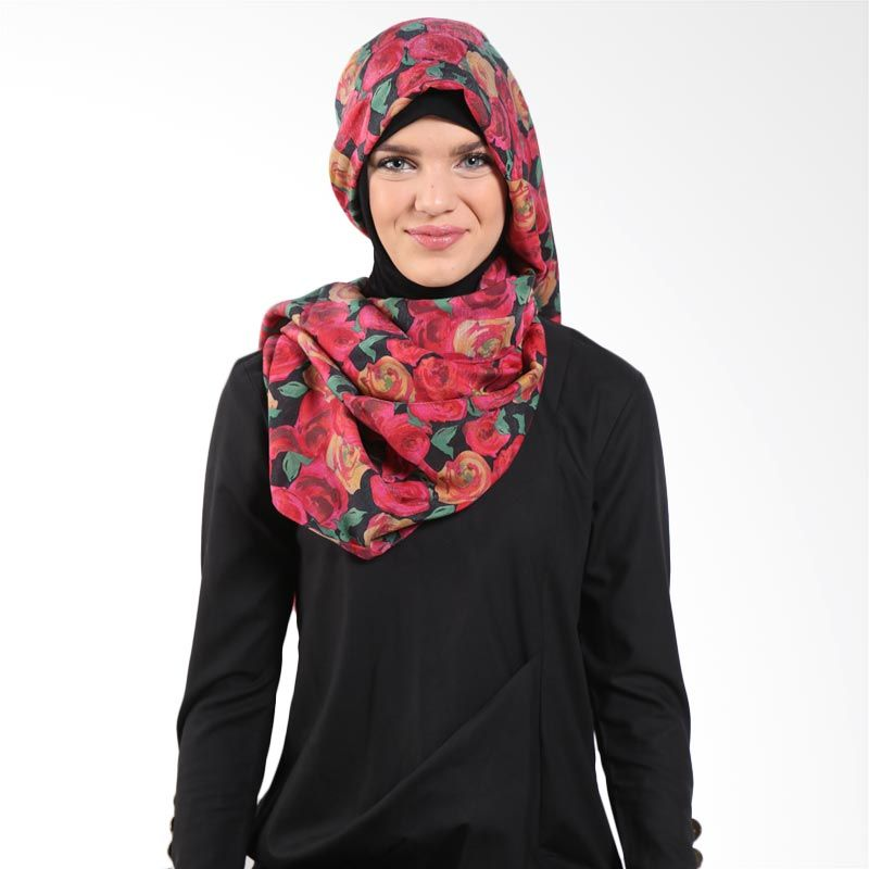 Aira Muslim Butik Gardenia AB.P-005 Black Red Pashmina