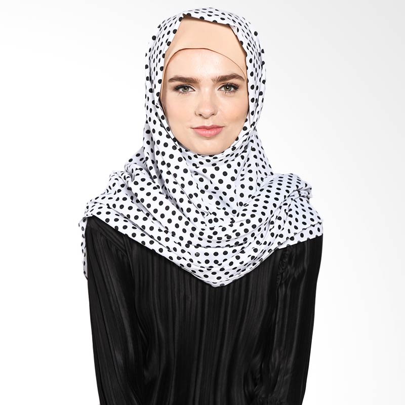 Aira Muslim Butik Monochrome Polka Pashmina AB.P-034 Hijab - White