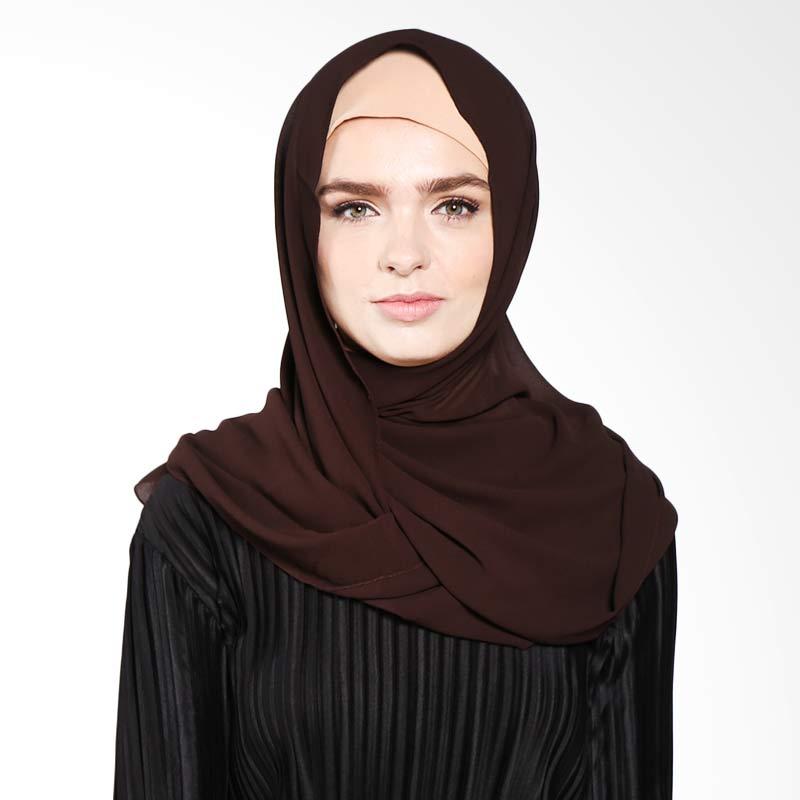 Aira Muslim Butik Pashmina Diamond Italiano AB.P.028 Hijab - Dark Brown