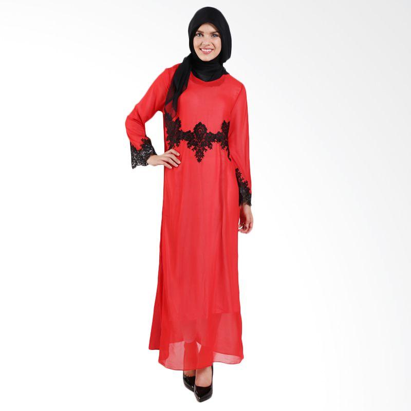 Aira Muslim Butik Pretty Lace AB.D-002 Red Dress
