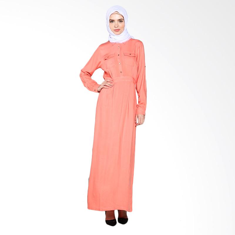 Aira Muslim Butik Rylee Shirt Overall AB.D-006 Dress Muslim - Orange