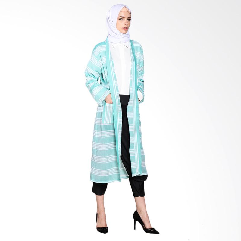 Aira Muslim Buti Tatiana Outer AB.O-002 Atasan Muslim - Green Stripe