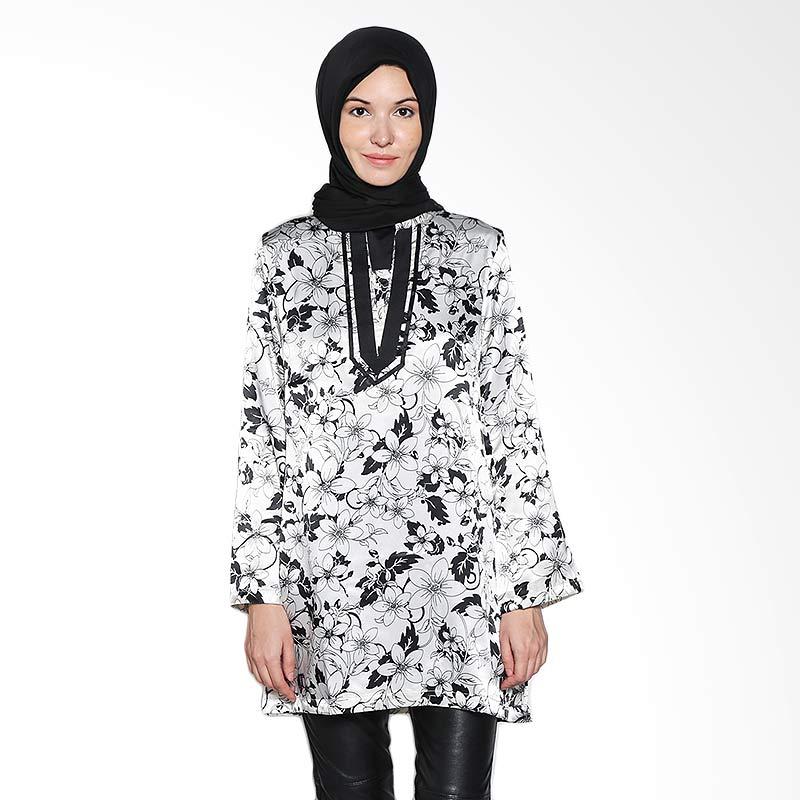 Aira Muslim Butik Top Motif Flowery AB.T.003 Broken White Atasan Wanita