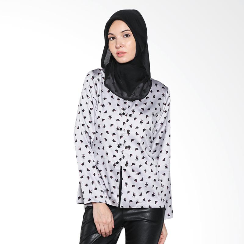 Aira Muslim Butik Wilona Top AB.T.004 Grey Atasan Wanita