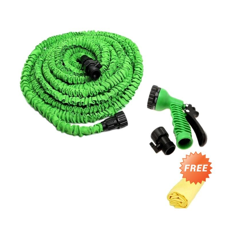 Magic X-Hose Expandable 15 M - Hijau + Gratis Lap Plas Chamois