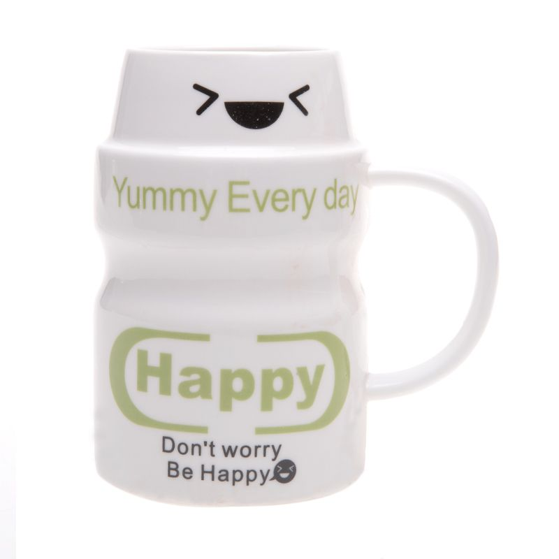 Deye Yougurt Happy Putih Mug Cangkir [350 mL]