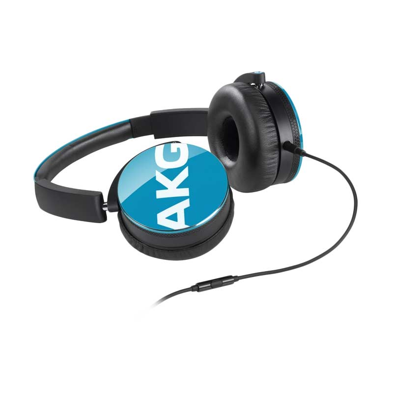 AKG Y50 On-Ear Headphone - Blue With In-Line One-Button Universal Remote Or Microphone