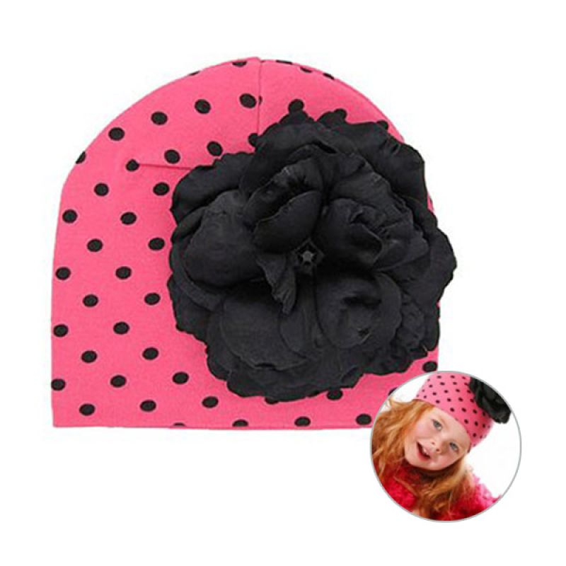 Jamie Rae Hats Cotton Hat with Black Rose Flower in Candy Pink with Black Dots