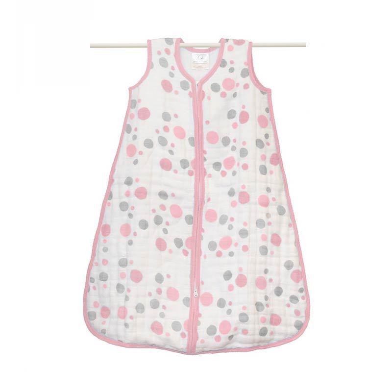 Aden Anais Cozy Muslin Sleeping Sacks Pink Dots Size S (baby weight 4-8 kg) - Kantong Tidur Bayi